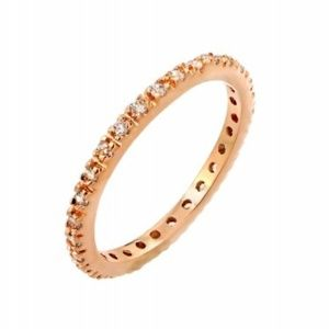 Rose Gold Plated Plated CZ Inlay Eternity Band